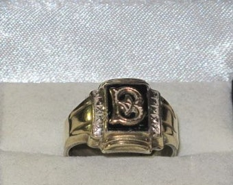 Vintage Sterling Silver with 10K Gold Top Initial Ring
