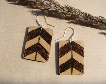 wooden earrings, natural earrings, ecologic earrings, ethnic earrings, boho earrings, plywood earrings, geometric earrings