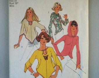 "Vintage 1970's Ladies' Hanky Hem Stretch Knit Pullover/Hoodie Size 14, Bust 36"""