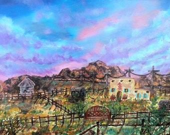 New Mexico Adobe House Farm Art Print