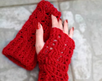 Cable crochet fingerless mittens/Red fingerless gloves/Spring fashion accessories/Easter gift/Cable gloves/Women mittens/Red cable gloves