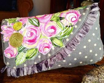 Handmade Pink Floral Clutch