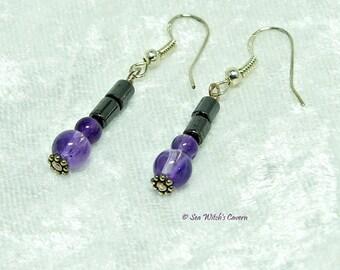 Hematite Earrings with a choice of Gemstone Beads, Gemstone Earrings, February or December Birthstone earrings, A0413