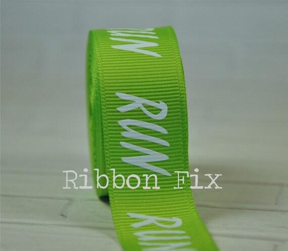 "2 Yards 7/8"" Lime Green Run Marathon Print Grosgrain Ribbon"
