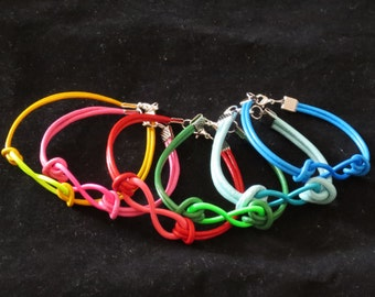 Round Leather Infinity Bracelet in Six Colors with Colored Infinity Sign