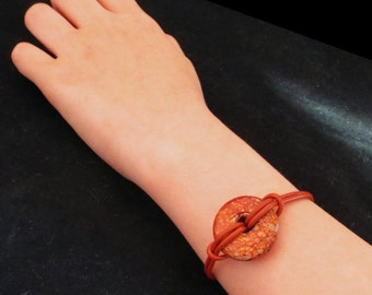 Red Round Leather Summer Bracelet with Clay Donut Gift for Her