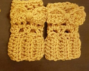 Toddler Boot Cuffs with Bow (2 pairs!)