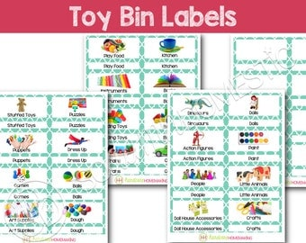 Toy Bin Labels (Turquoise) - Printable for Classroom or Playroom Baskets & Shelves