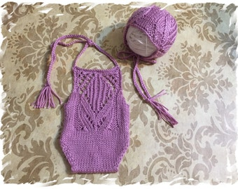 Newborn Romper and Bonnet Set/Lace/Hand knitted/Photography Prop/Special Gift