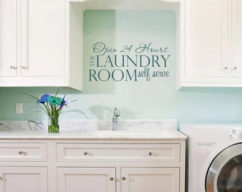 Laundry Room Decal - Laundry Vinyl Wall Decal - Laundry Room Decor - Laundry Room 24 hour
