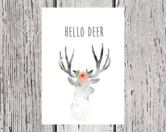 Hello Deer Print - Deer print - Deer Wall Art - Deer - A4 Deer Print