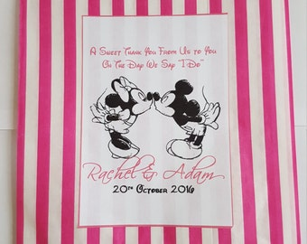 50 x Personalised Candy Bar/Sweet Cart paper bags Disney Mickey Minnie or Mad Hatter. Various colours available