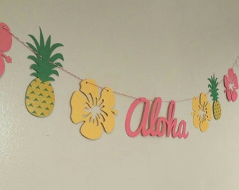 Luau party banner, aloha banner, Hawaiian luau, Hawaiian party, pineapple bunting,pig roast, tiki party,  tropical party, tropical wedding,