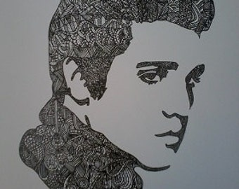 Elvis Presley Zentangle A4 Art Print