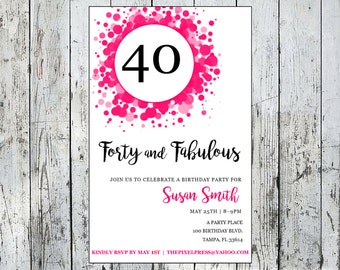 40th Forty and Fabulous Birthday Invitation