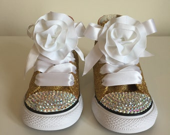 Gold Glitter and Rhinestone Converse! Gold and White!