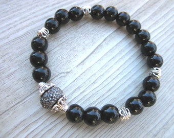 Hand made bracelet blackstones 8mm