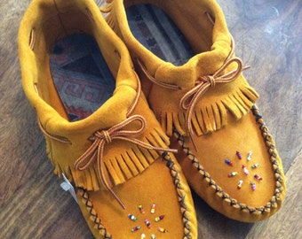 Adult, Indian Tan Suede Moccasins