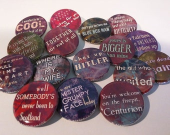 """Amy and Rory : Doctor Who buttons 1.25"""" / 32mm pin back badges- The Girl Who Waited, Amy Pond & Rory Williams, Together or Not At All"""