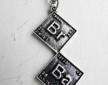 Breaking Bad Inspired Necklace - Periodic Table Chemical Symbols - Br Ba Silver Pendant
