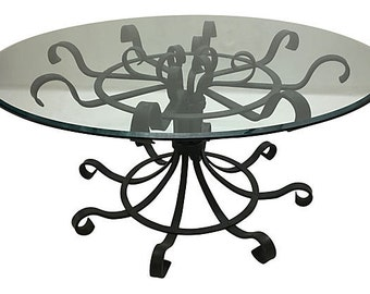 French Wrought Iron Scrolled Dining Table, French Dining Table, Iron Table