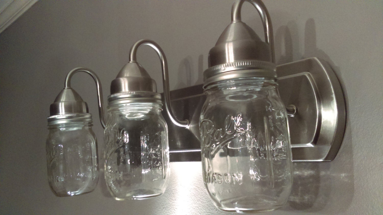 Brushed Nickel Finish 3 Light Mason Jar Light Fixture. Vanity