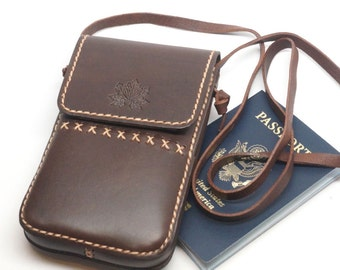 Leather phone neck bag, Leather neck pouch travel,necklace bag, leather phone pouch, phone purse, Passport holder, Passport bag, Iphone bag