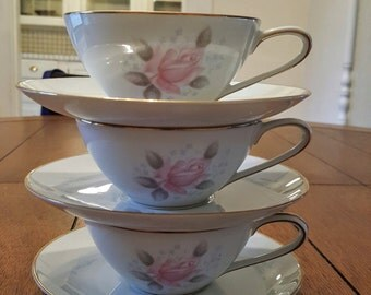 Noritake Teacups + Saucers (3)