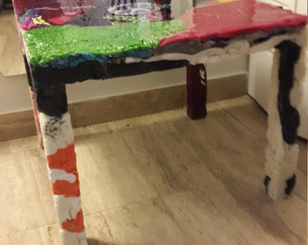 coffee table made of clothes