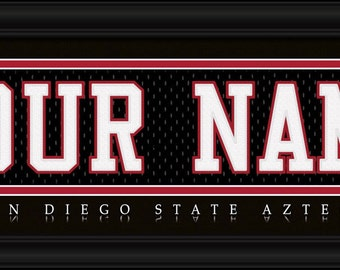 San Diego State University Aztecs NCAA Framed Personalized Jersey Nameplate College Sports  Home Decor 22x6 Inches Free Shipping