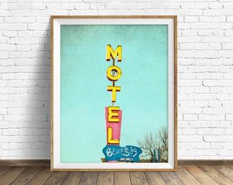 "neon sign, retro, wall art, large art, large wall art, instant download art, instant download, printable art, print, art - ""Blue Sky Motel"""