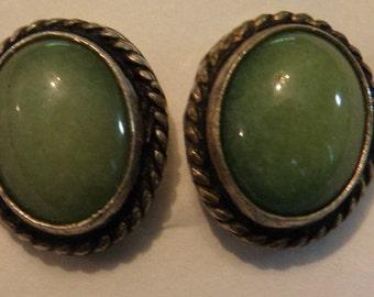 Silver and jade stud earrings