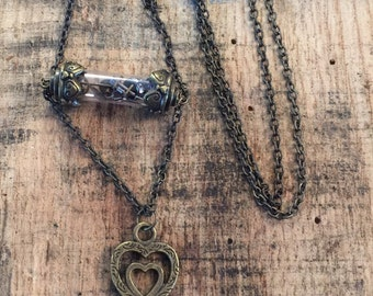 Steampunk Vial and Key Necklace
