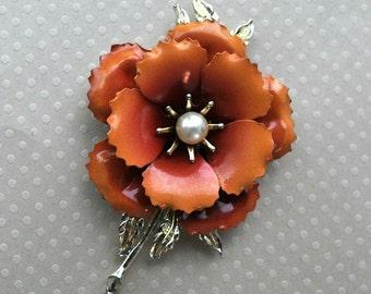 Vintage Orange Enamel Flower Brooch, Orange Brooch, Large Brooch, Old Brooch, Enamel Brooch, 1940s Brooch, Orange Pin, Vintage Brooch, GS719