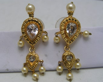 Dangle Earrings  . Gold plated . paste stone . Victorian Revival jewelry