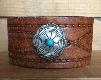 Native American Turquoise Concho Leather Bracelet Cuff