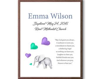 Art For Baby Girl, Art Gift For Christening, Baby Baptism, Gift For Godchild Baptism, Baby Elephant