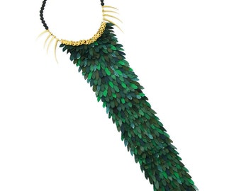 Green Long Fish Scale Necklace