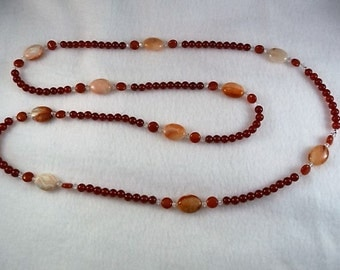 42 Inch Long Carnelian Necklace/Earring Set accented with Swarovski Crystal. Gift  under 75