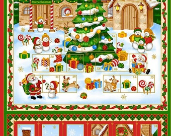 Christmas Advent Calendar Fabric Panel - Cotton Quilt Fabric by Fabri-Quilt