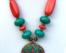 Rajasthani Necklace; Indian Jewelry, Handmade, Colourful Necklace with Beautiful Pendant