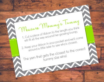 Printable Baby Shower Game - Measure Mommy's Tummy - Pink w/ Gray Chevron - DIGITAL FILE