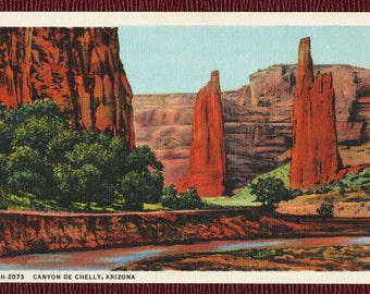 Canyon de Chelly, Arizona, h-2073, Vintage Postcard, Fred Harvey