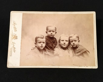 Excellent Cabinet Card of the Wilhelm Siblings, 19th Century Antique Photograph