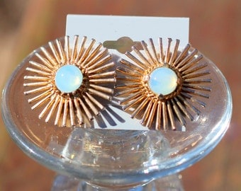 Vintage Sunburt Starburst Earrings Gold Tone with Moonglow Cabochon