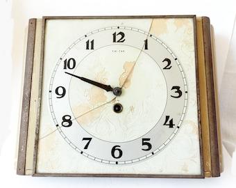 Vintage 1950s Kitchen wall clock TIK TAK Czechoslovakia Old Retro Antique Decor