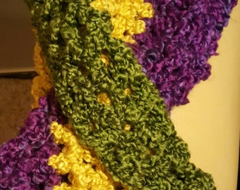 Crocheted Mardi Gras scarf, Circle scarf, Mardi Gras Cowl, Infinity Scarf