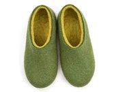 Womens house slippers, felted wool slippers, green slippers, best slippers for women, birthday gift for wife, warm slippers,