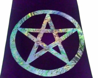 """Beautiful Altar Cloth with Blue/Green Pentacle 24 x 36"""""""