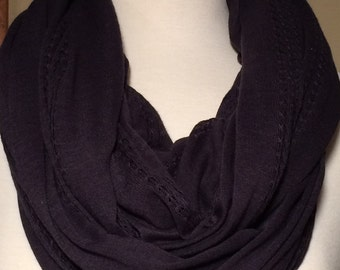 Infinity Scarf Blue Cotton Lightweight Soft Design Gift Scarves Scarfs Navy